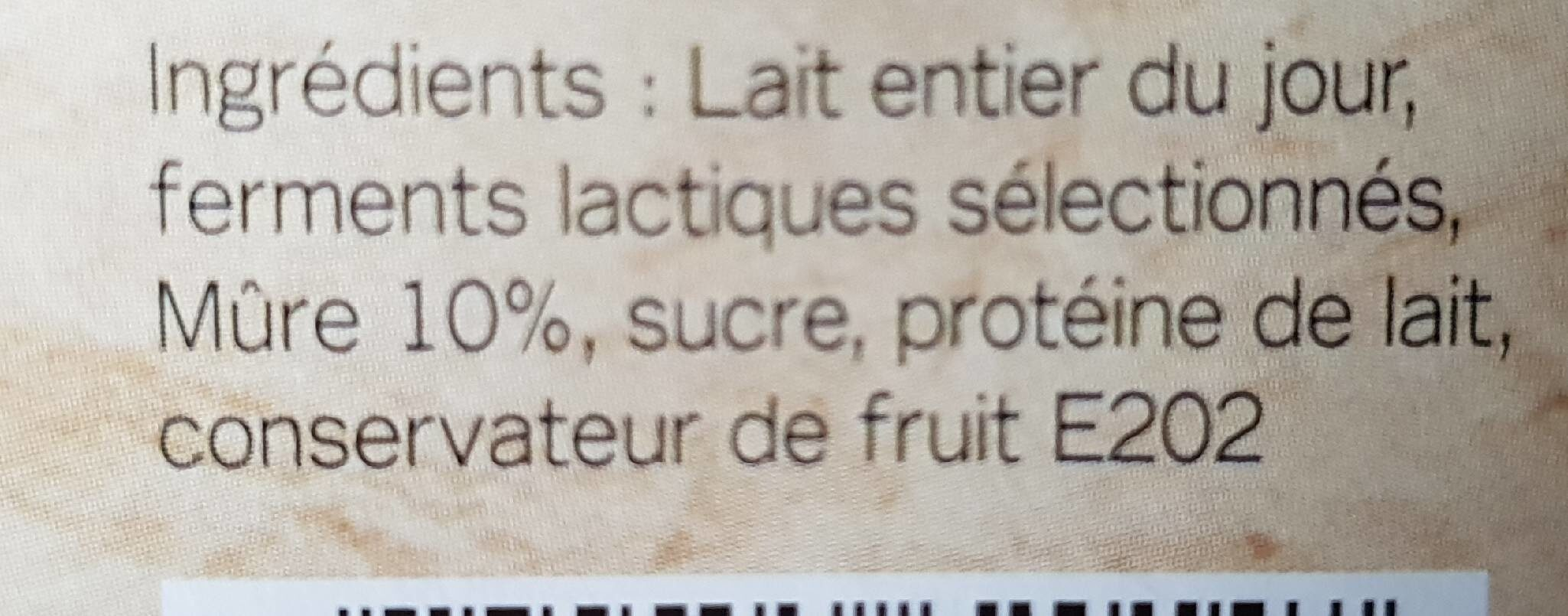 Yaourts de Normandie Mûre - Ingredients