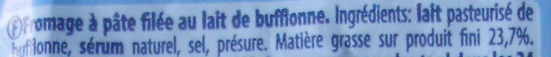 Mozzarella di latte di Bufala - Ingredients - fr