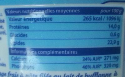 Mozzarella di Bufala Campana (22,9 % MG) - Voedigswaarden