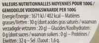 Parmigiano Reggiano DOP Bio (30 % MG) - Nutrition facts - fr