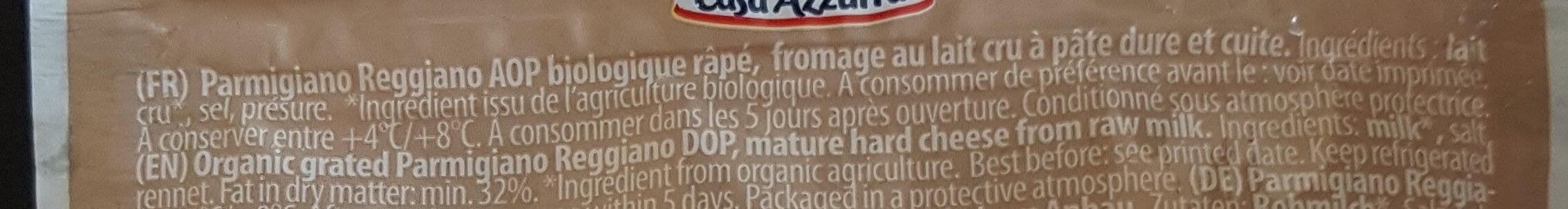 Parmigiano Reggiano DOP Bio - Ingrédients - fr