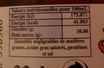 Vosges Cola - Valori nutrizionali - fr