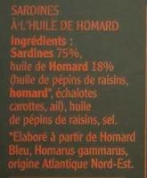 Sardines à l'Huile de Homard - Ingrédients - fr