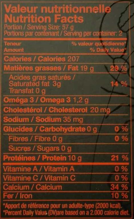 Sardines à l'Huile de Homard - Informations nutritionnelles - fr