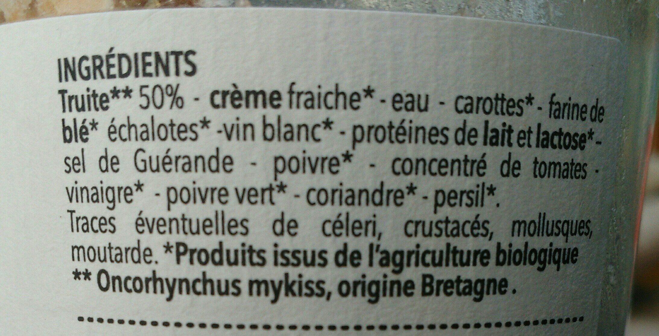 Rillettes de truite bio - Ingredients