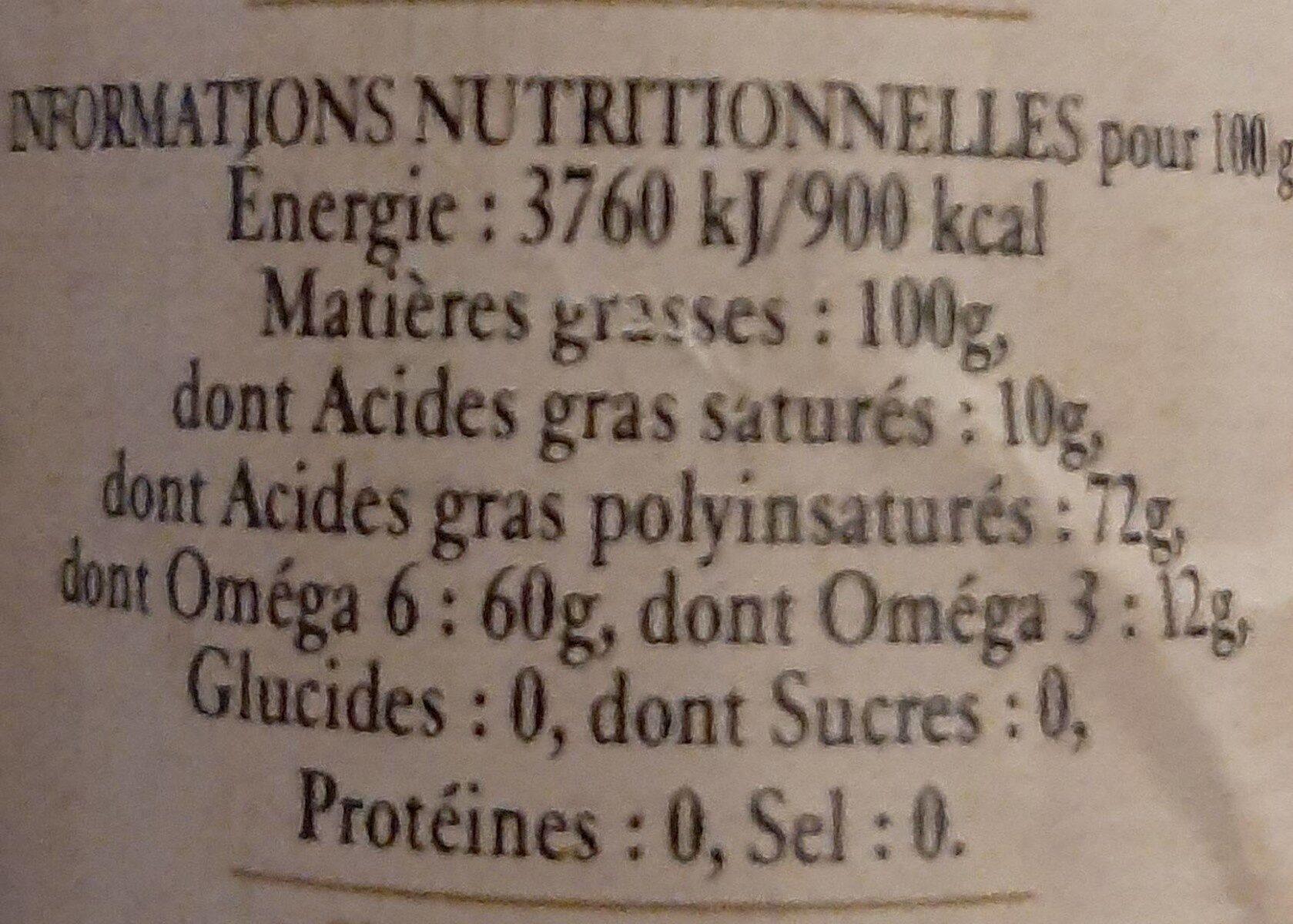 Huile vierge de noix bio - Informations nutritionnelles - fr