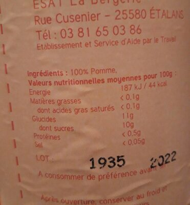Jus de pomme avec sa pulpe - Informations nutritionnelles - fr