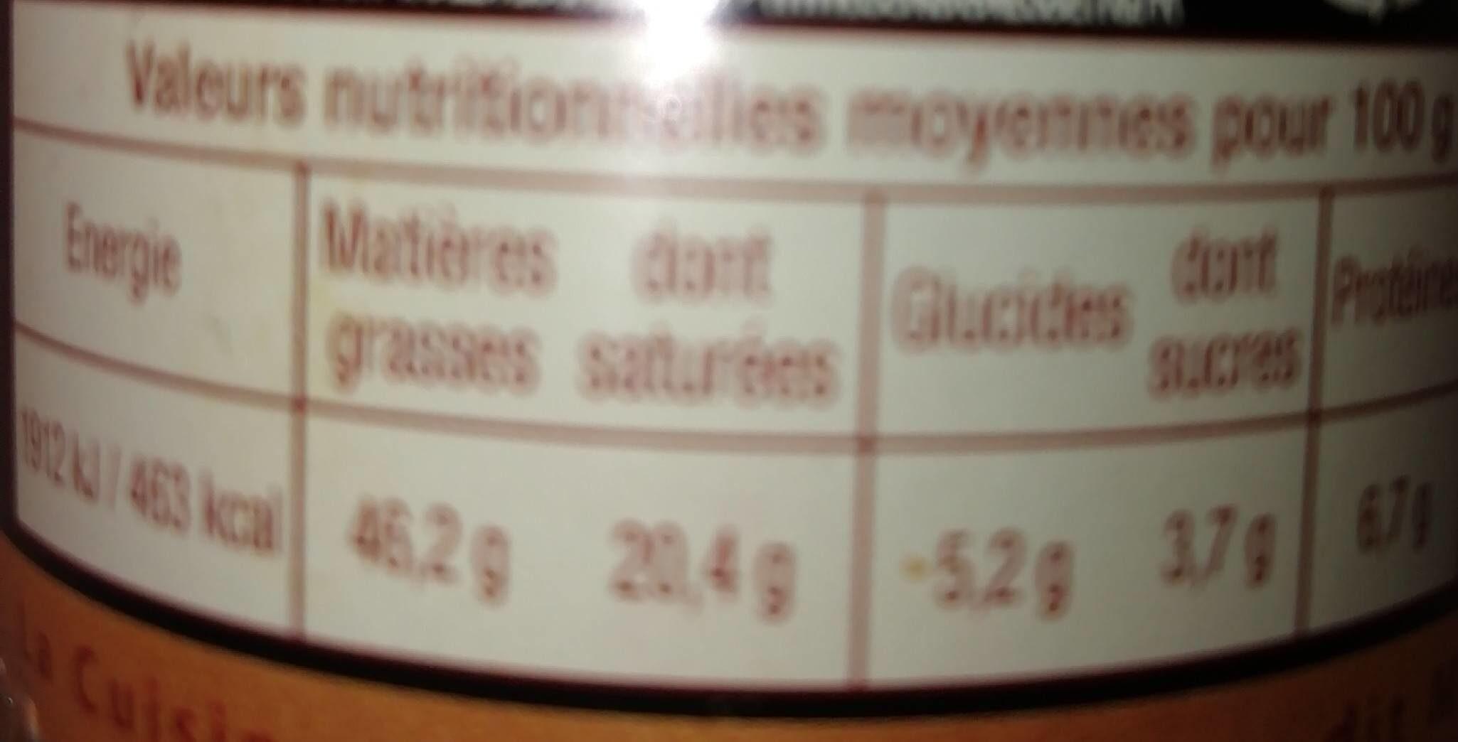 Spécialité de bloc de foie gras de canard aux abricots - Voedingswaarden