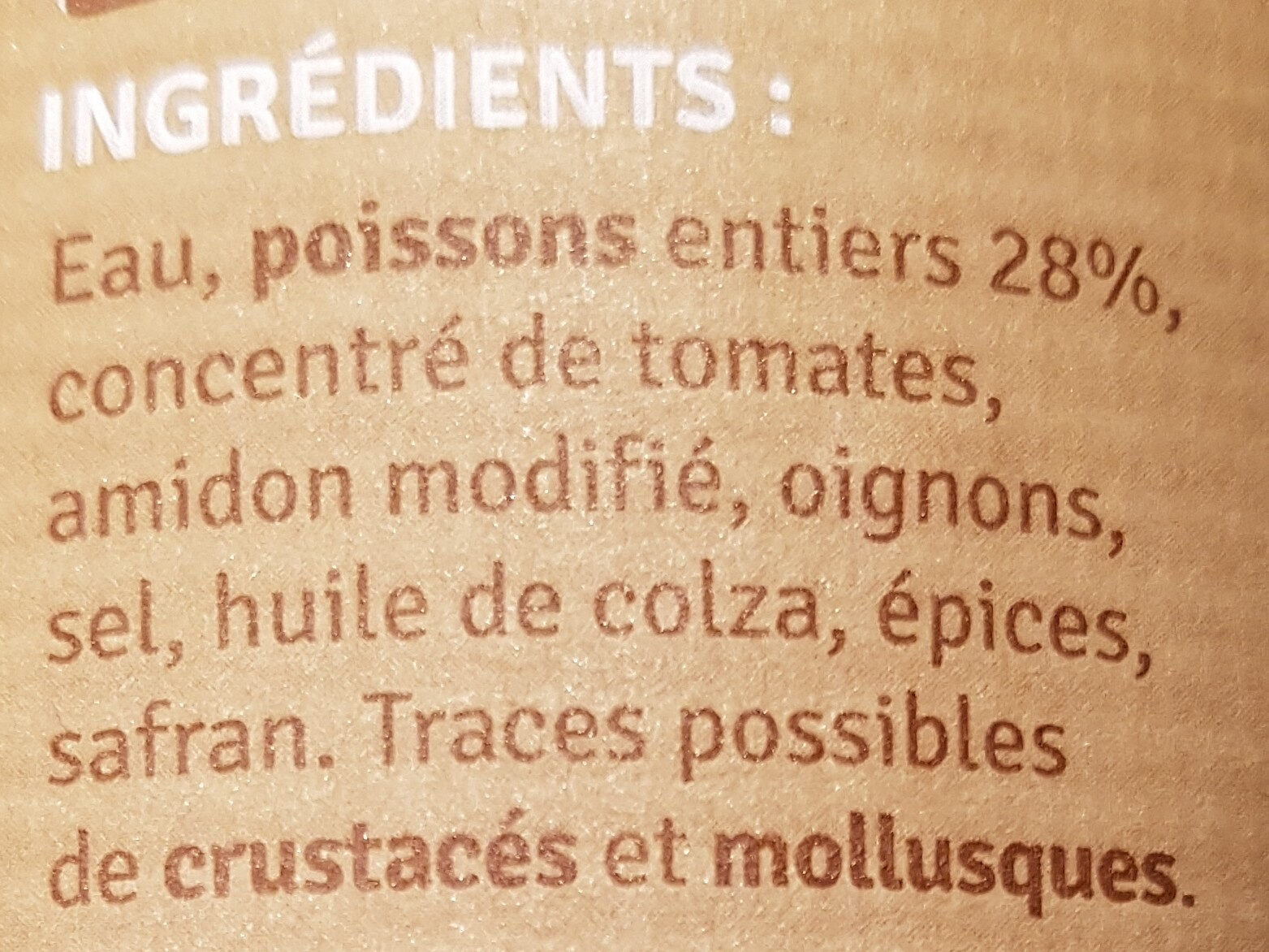 Soupe de Poisson recette Méditerranéenne - Ingredients