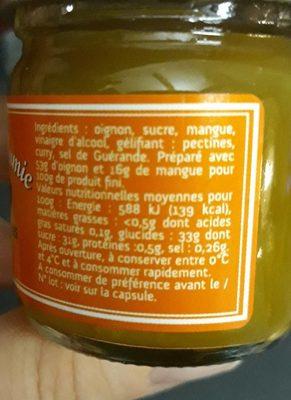 Confit oignon et mangue - Ingrédients - fr