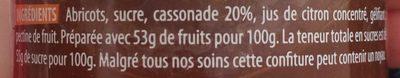 Confiture extra à l'abricot - Ingredients