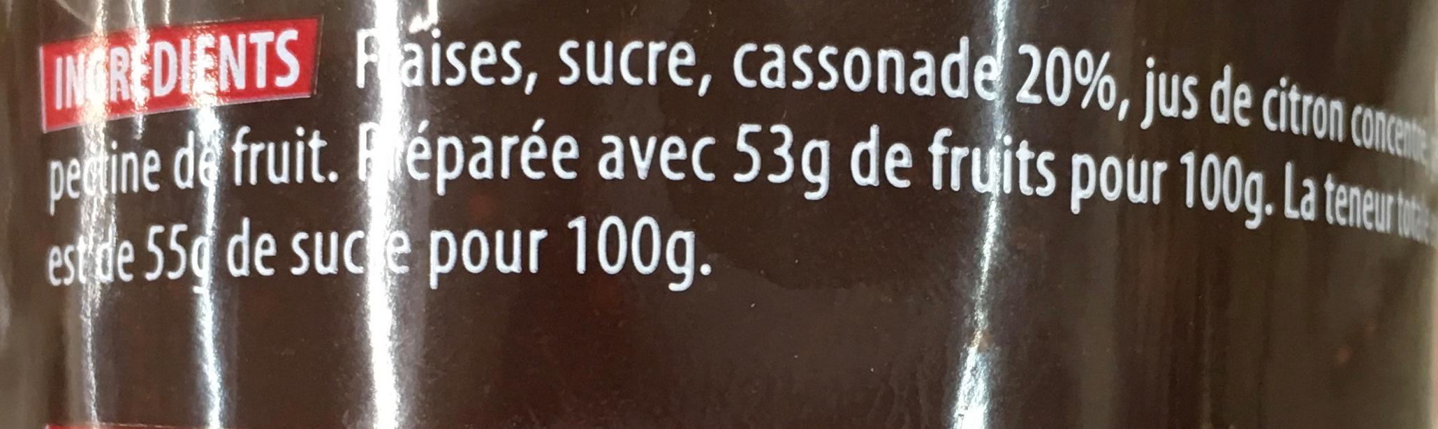 Confiture extra Fraises à la cassonade - Ingrédients - fr