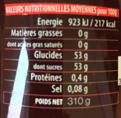 Confiture extra Fraises à la cassonade - Informations nutritionnelles - fr