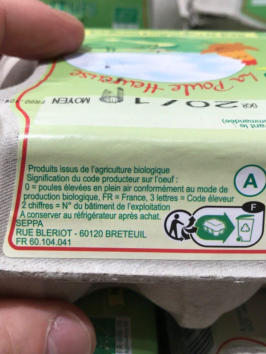 Oeufs bio - Ingredients
