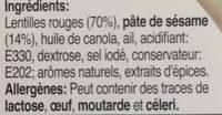 Houmous Ras El Hanout - Ingrediënten - fr