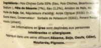 Houmous Pois Chiches - Ingrédients - fr