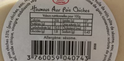 Houmous aux pois chiches - Voedingswaarden