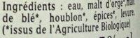 Biere Blanche 33CL Artisanale Bio - Ingrediënten - fr