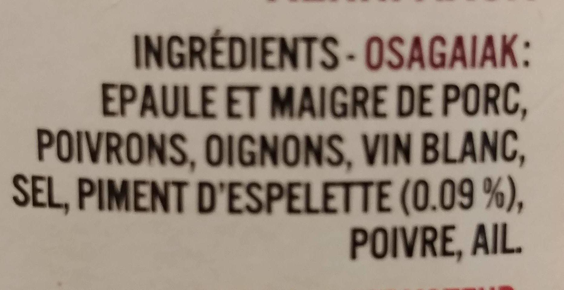 Axoa de porc au piment d'espelette - Ingredients