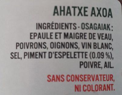Axoa de veau au piment d'Espelette - Ingrédients