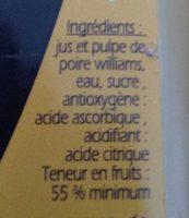Nectar poire Williams - Ingrediënten - fr