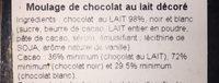 Moulage de chocolat au lait decoré - Ingredienti - fr