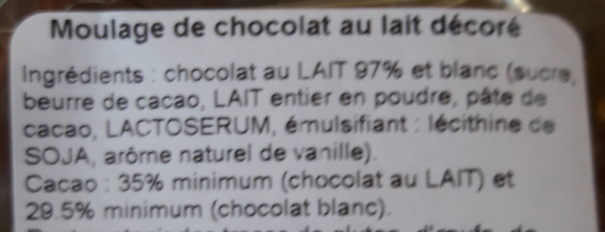 Poule au chocolat au lait - Ingrediënten - fr