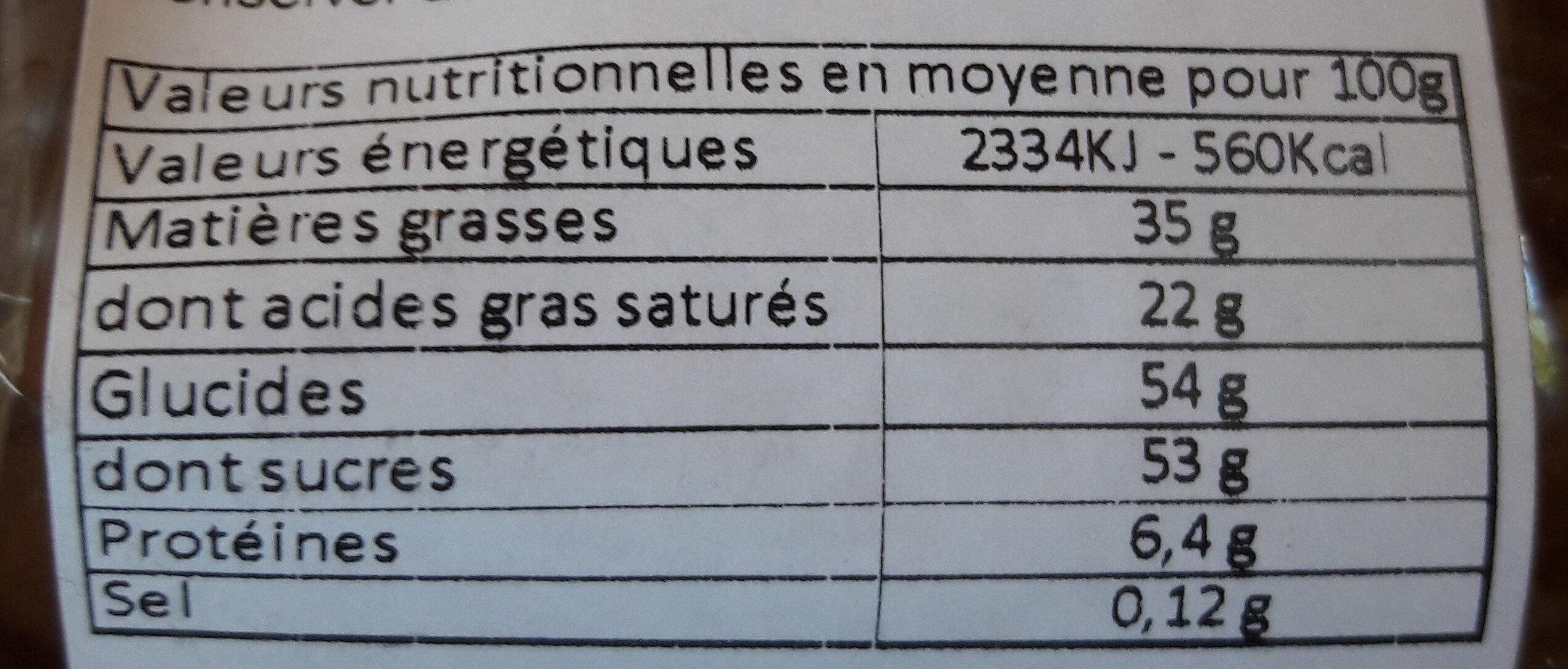 Poule au chocolat au lait - Voedingswaarden - fr