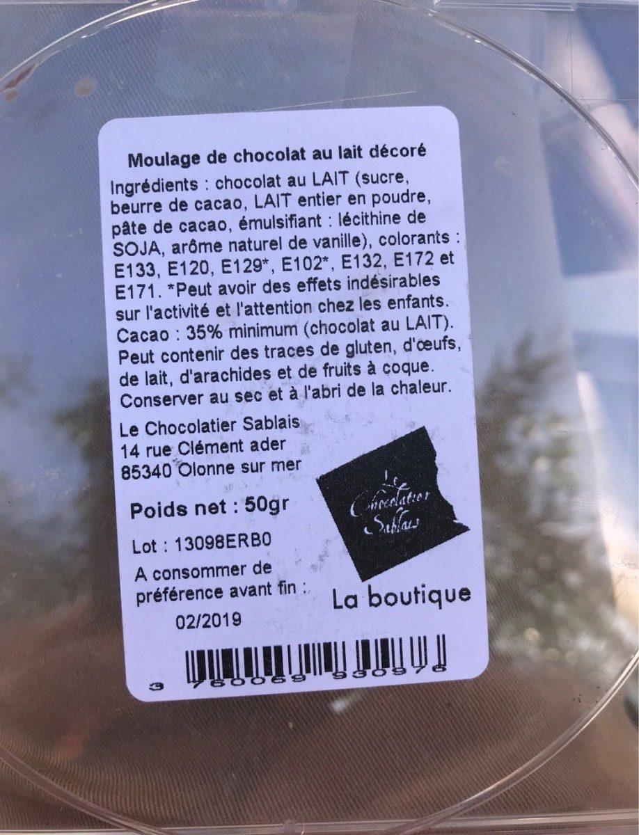 Moulage de chocolat au lait decore - Produit - fr
