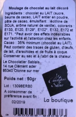 Moulage de chocolat au lait decore - Ingrédients - fr