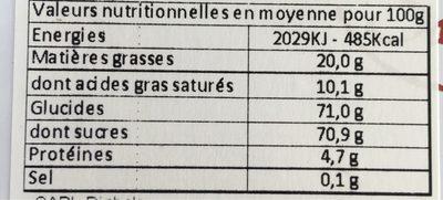 Boîte La Vendée - Informations nutritionnelles - fr