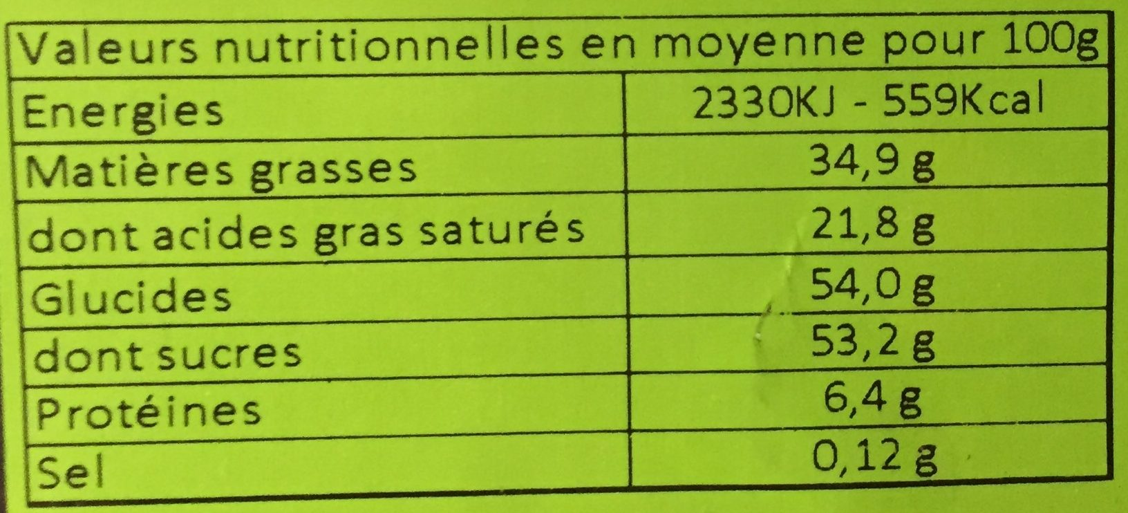 Dinosaure en chocolat - Informations nutritionnelles - fr