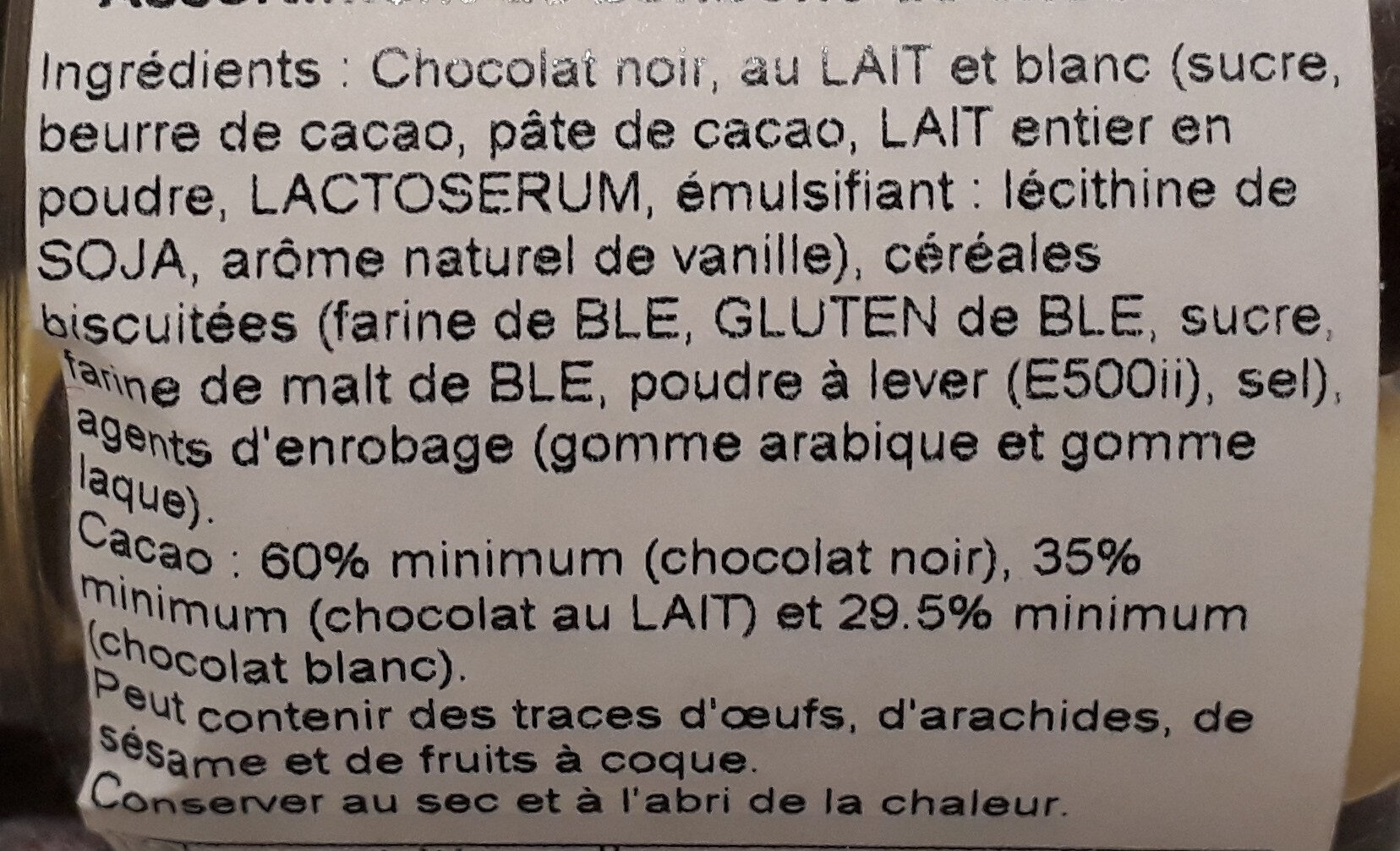 Crousti Choc assortis - Ingredients - fr