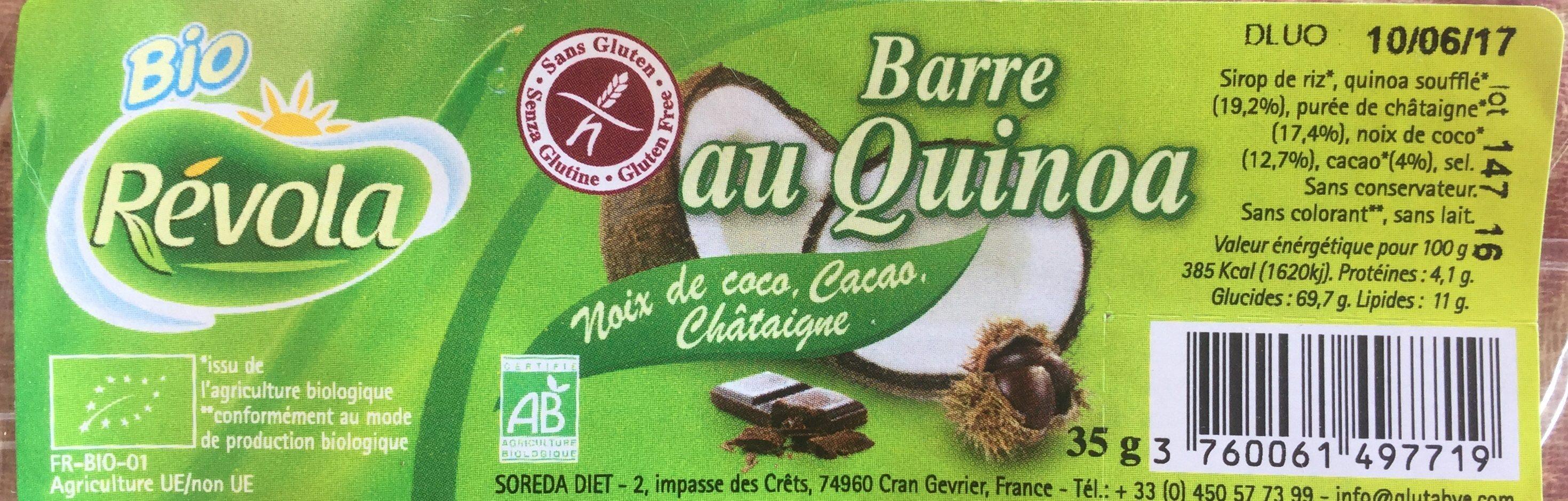 Barre au quinoa, noix de coco, cacao, châtaigne - Produit - fr
