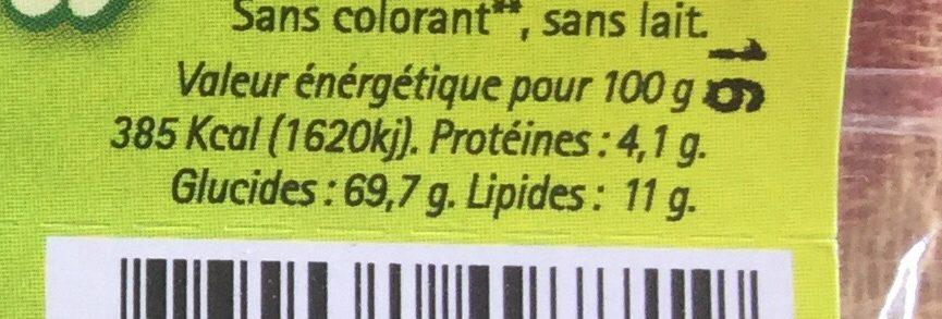 Barre au quinoa, noix de coco, cacao, châtaigne - Informations nutritionnelles - fr
