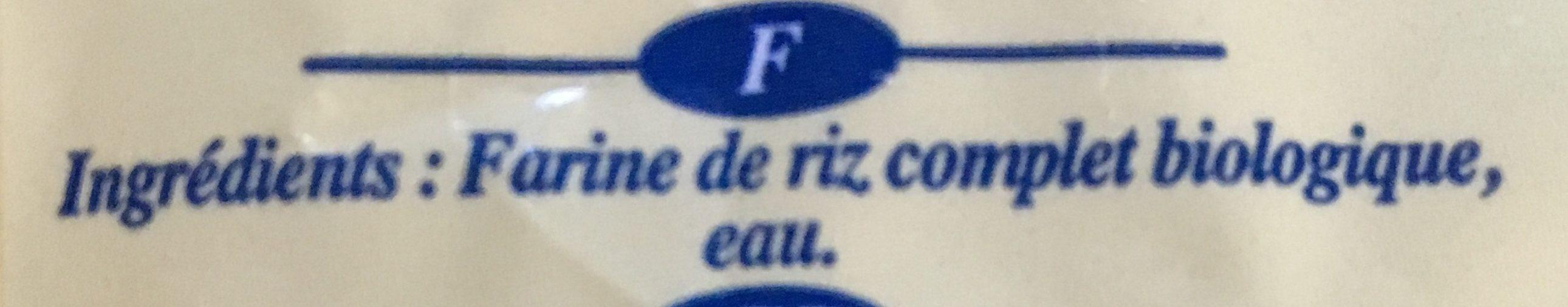 Pâtes de Riz complet biologique - Ingrédients - fr