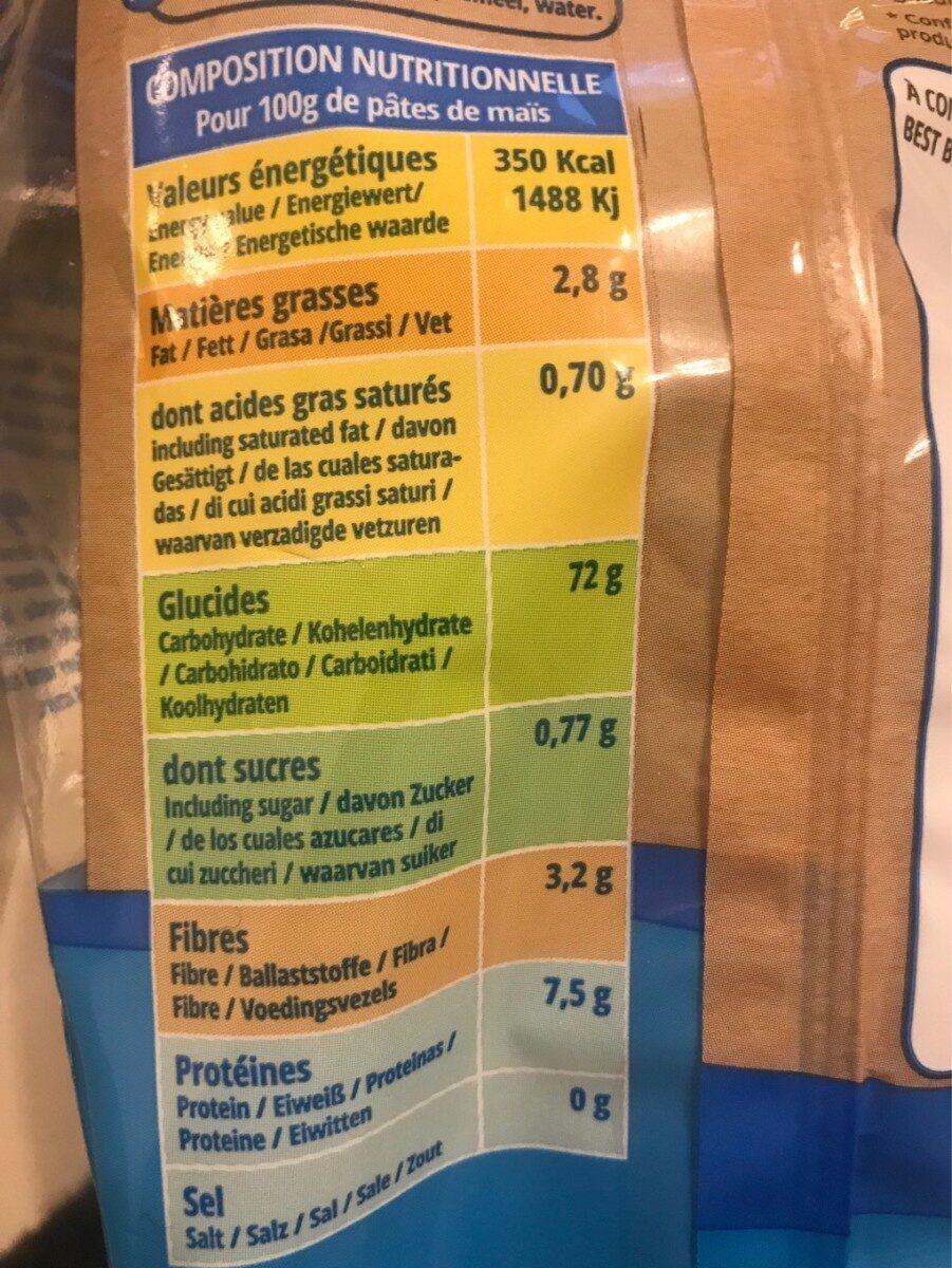 Pâtes de Riz complet biologique - Informations nutritionnelles - fr