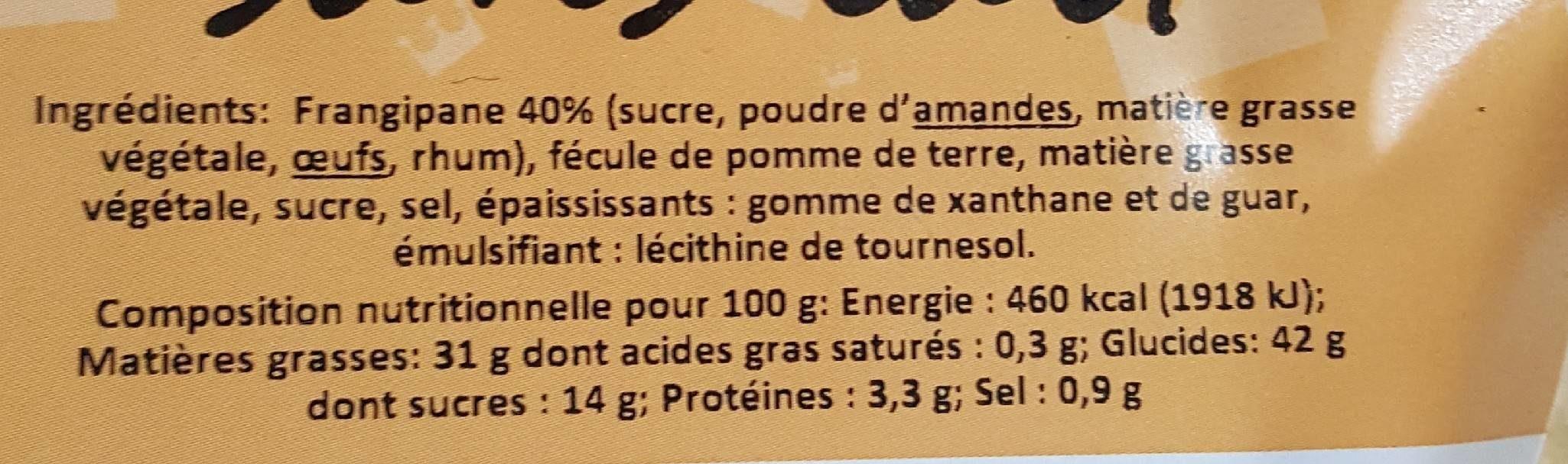 Galette Frangipane Sans Lait 420G - Voedingswaarden