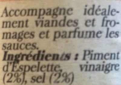 Puree de piment d'espelette - Ingredients - fr