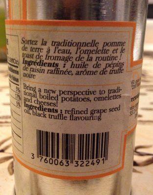 Huile de pépins de raisin aromatisé à la truffe noire - Ingredients - fr
