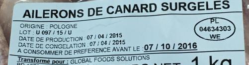 Ailerons de canard surgelés - Ingrédients - fr