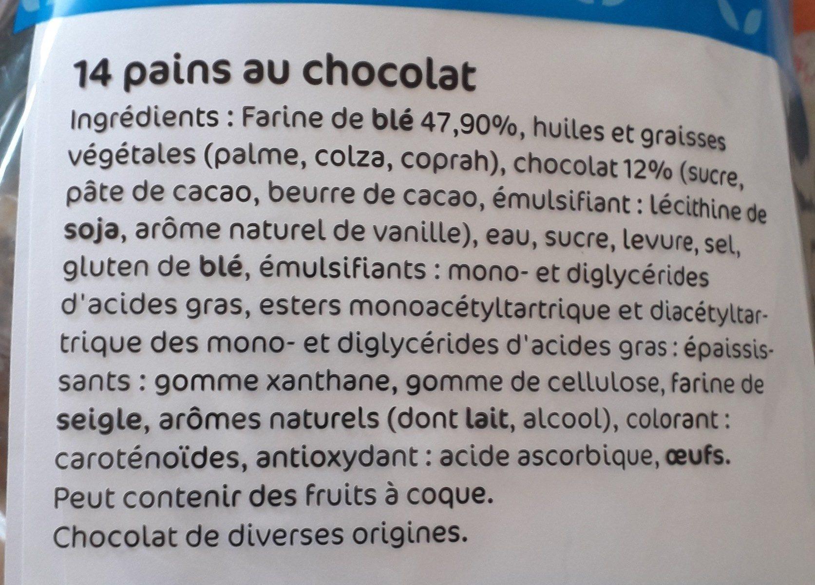 Pains au chocolat x14 - Ingrediënten - fr