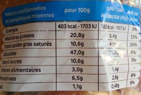 Pains au chocolat x14 - Voedingswaarden - fr