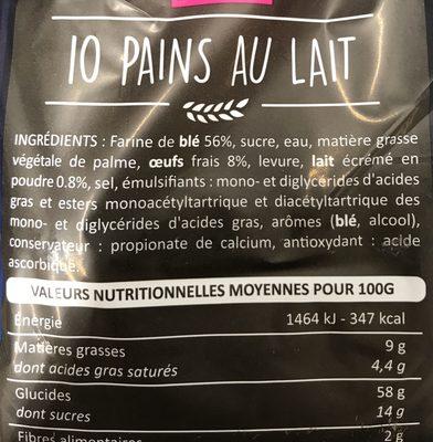 10 Pains au lait - Ingrédients - fr