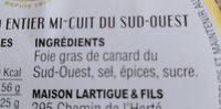 Foie gras de canard entier - Ingrediënten - fr