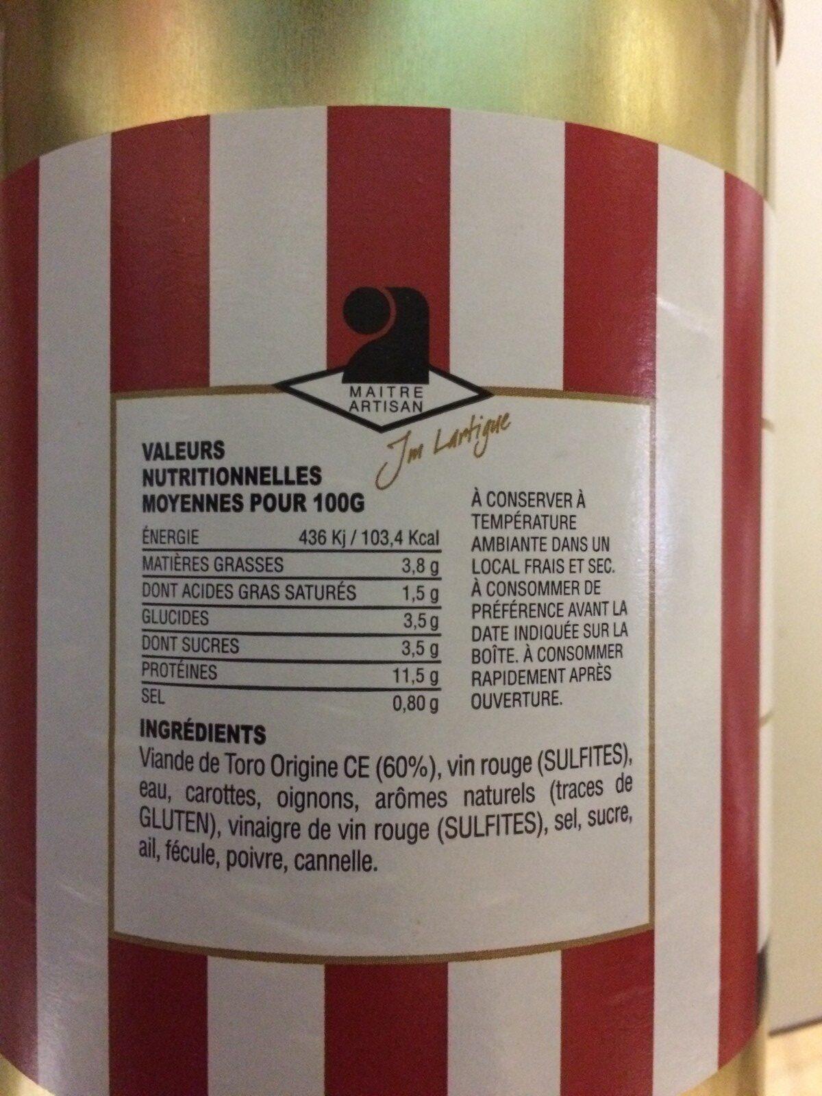 La daube de toro - Ingrédients - fr