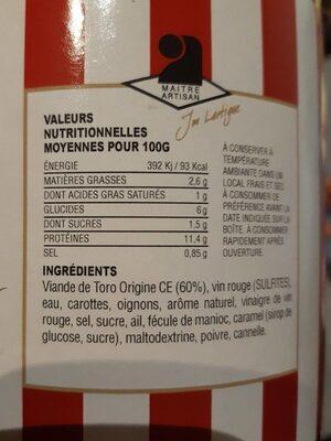 La daube de toro - Informations nutritionnelles - fr