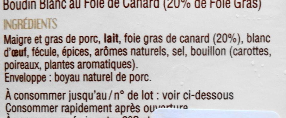 Le Boudin Blanc Artisanal, 20% foie gras - Ingrédients