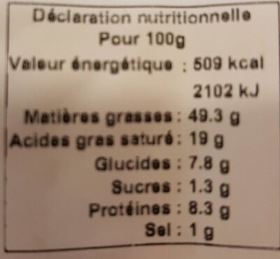 Foie gras mi cuit label rouge - Nutrition facts - fr