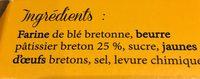 Gateau Breton du pays de Douarnenez - Ingredients
